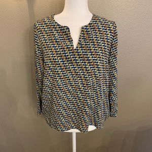 Willie Smith Color Block Pattern Top w/ Zippers
